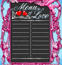 Vintage Pink Blackboard for Valentine s Menu vector image