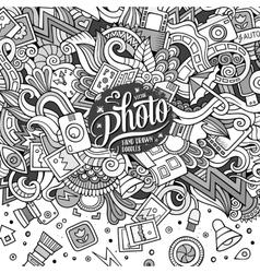 Cartoon cute doodles hand drawn photo vector