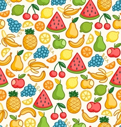 Fruits doodle pattern in color vector image vector image