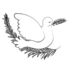 pigeon peace symbol side view with olive branch in vector image
