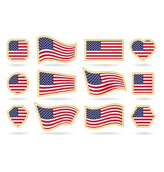 usa flag badges set vector image