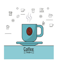 colorful poster of coffee shop with porcelain cup vector image