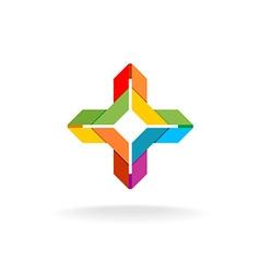 Colorful ribbon origami cross symbol vector image