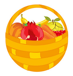 Fruits and vegetables in basket vector