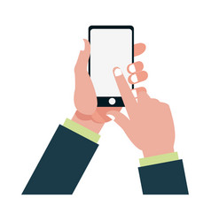 hand finger touch display smartphone vector image vector image