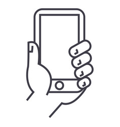 hand holding phone line icon sign vector image