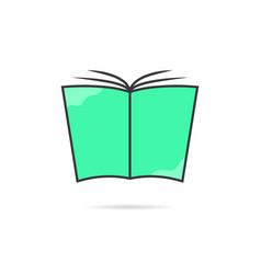 linear green book logo with shadow vector image vector image