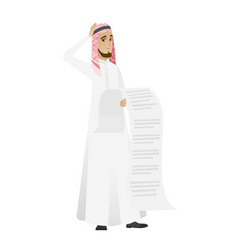 muslim accountant holding a long bill vector image vector image
