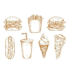 Sketches of fast food snacks vector image vector image