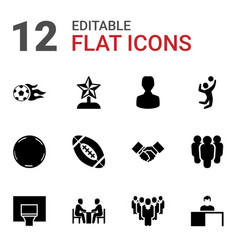 12 team icons vector