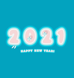 2021 happy new year card paradise island numbers vector image