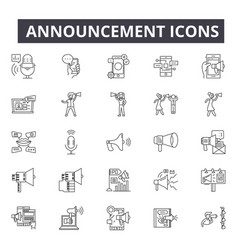 announcement line icons for web and mobile design vector image