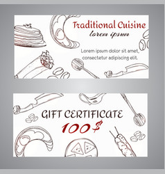 arabic cuisine gift certificate card traditional vector image
