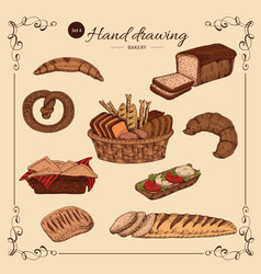 Bakery colored hand drawn set vector