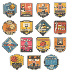basketball sport icons referee and players vector image