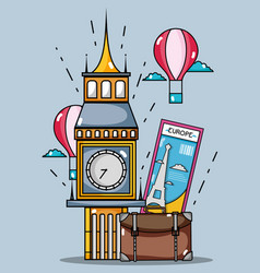 Big ben monument with air balloon and bag vector