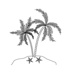 black silhouette of island with palm trees and vector image