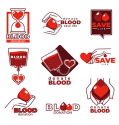 blood donation and charity help isolated icons vector image