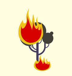 Burning forest tree in fire flames - natural vector