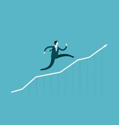 Businessman runs up the arrow career success vector