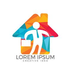 businessman with bag house shape logo design vector image