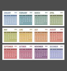 Calendar for 2022 starts sunday vector