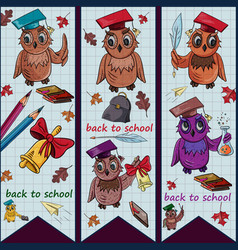 Childrens 1 on the school theme bird owl holding vector