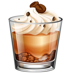 Coffee cake in glass vector image