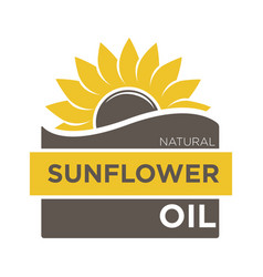 color emblem natural sunflower oil with yellow vector image