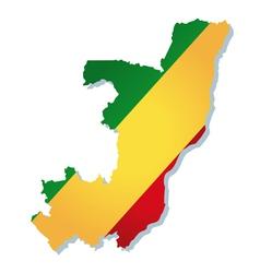 Congo africa map flag vector