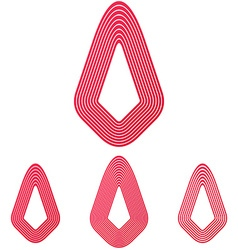 Crimson line technology logo design set vector