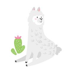cute lama alpaca animal vector image