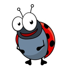 Cute little red ladybug cartoon character vector image