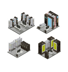 Data center isometric compositions vector