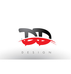 Dd d d brush logo letters with red and black vector