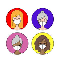 different race and ages woman in antivirus mask vector image