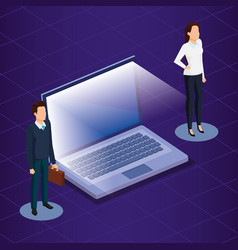 digital technology with business people isometric vector image