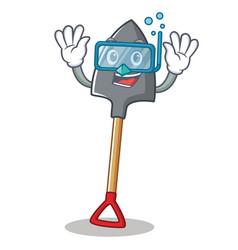 Diving shovel character cartoon style vector
