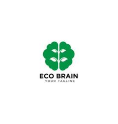 Eco brain logo design template vector
