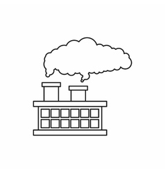 Factory building with smoking pipes icon vector image