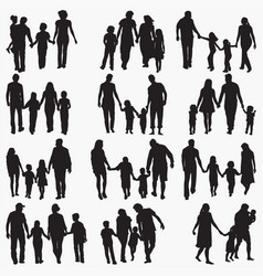 family 4 silhouettes vector image