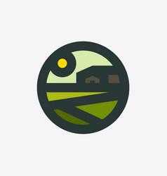 farming vintage logo icon of field and farm barn vector image
