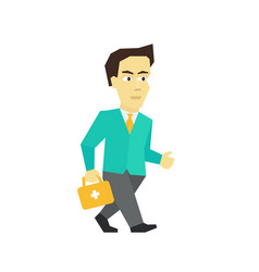 fast business help the doctor with briefcase is vector image
