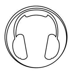 figure headphone emblem icon vector image vector image