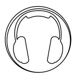 Figure headphone emblem icon vector