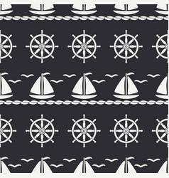 Flat line monochrome seamless pattern ocean vector