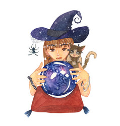 fortuneteller witch and zombie cat with crystal vector image