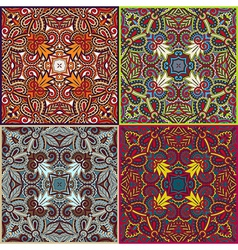 Four ornamental floral seamless texture collection vector