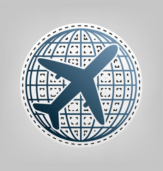 globe and plane travel sign blue icon vector image