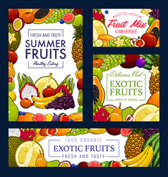 gmo free organic garden and tropic fruits harvest vector image